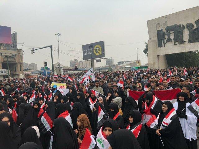 معترضان عراقی بار دیگر در میدان التحریر تجمع کردند