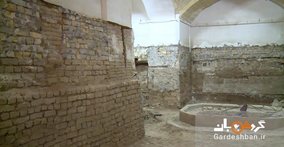 کشف حوضخانه یادگار دوره صفویه در عملیات مرمت زیرزمین مسجد کفش دوز های کاشان