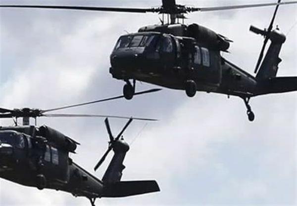 سوریه، تازه ترین اقدام اشغالگران آمریکایی، سه بالگرد حامل تجهیزات نظامی در الشدادی فرود آمدند
