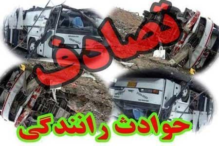 تصادف آتشین مینی بوس و سمند در اتوبان کرج - تهران